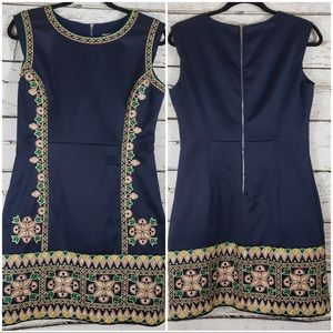 Marcobor Dark Blue Embroidered Dress